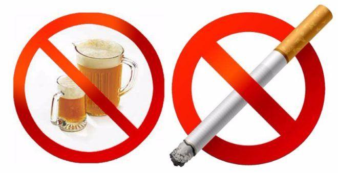 Отказаться от курения и алкоголя во время приема препарата
