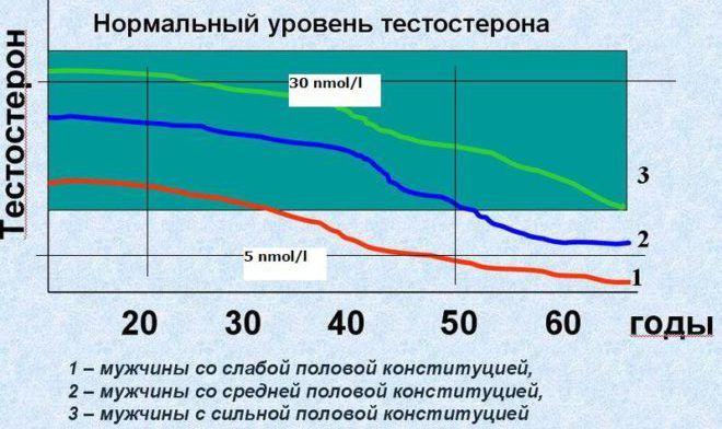 Уровень тестостерона с возрастом